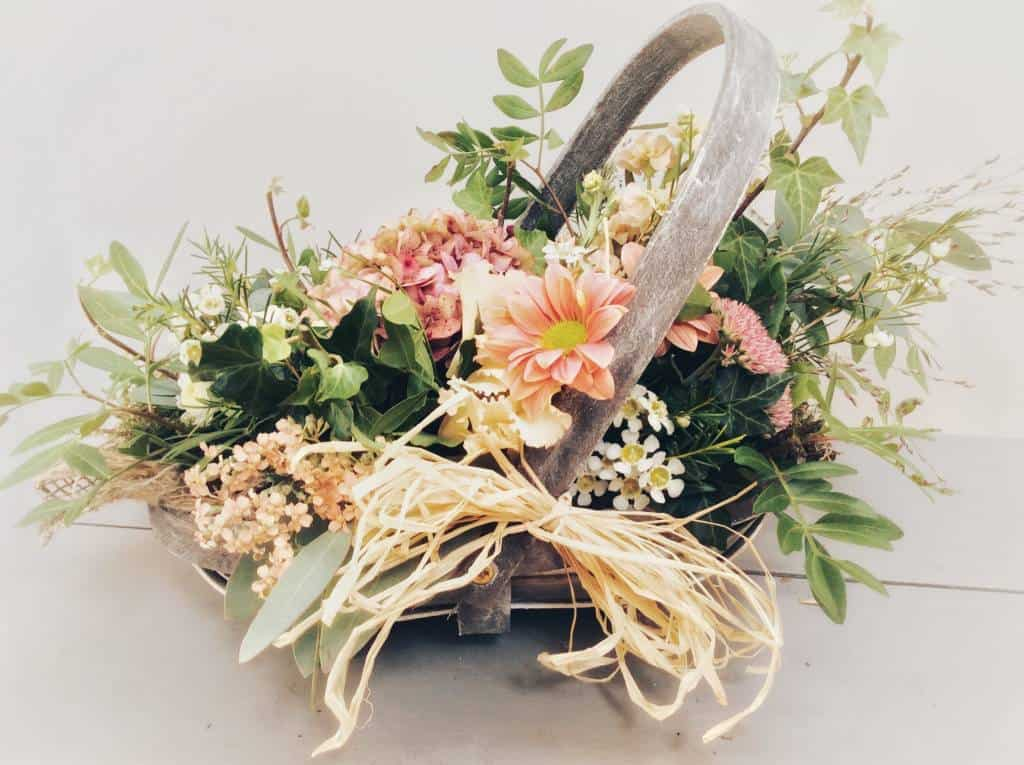 Flowers in a trug
