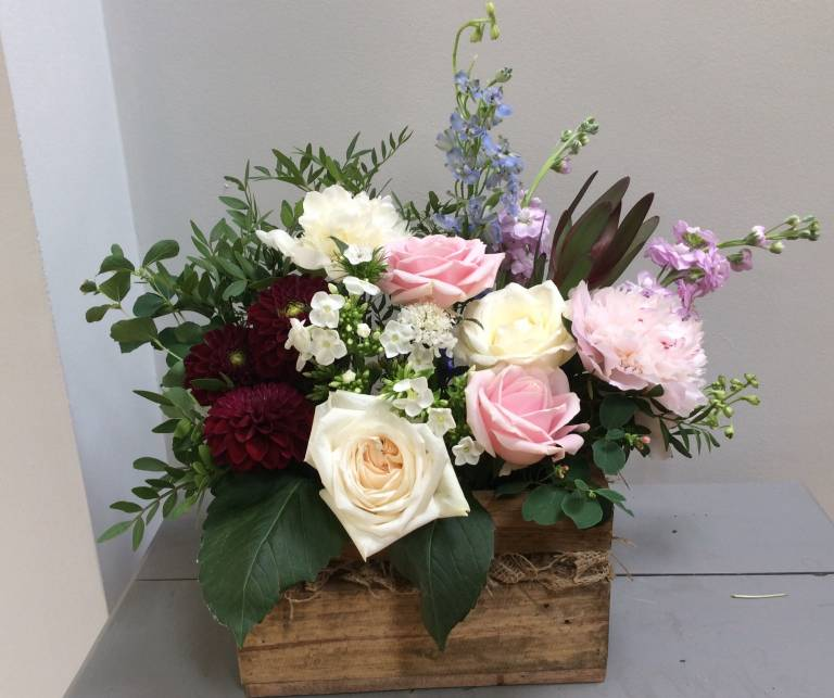 Flowers in a crate