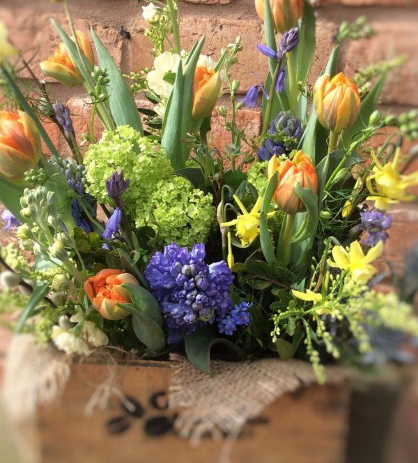 Rustic Flower Spring Crate